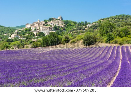 Small but beautiful old town of Simiane la Rotonde with a lavender field in front of it, Provence - France - stock photo