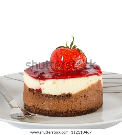 Small cake with chocolate and strawberry isolated - stock photo