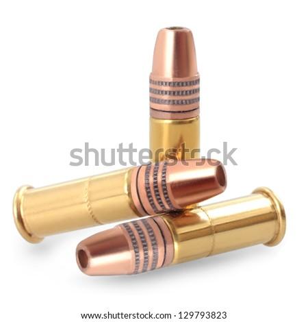 small caliber ammunition isolated on white background - stock photo