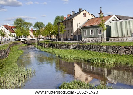 Small canal in Soderkoping, Sweden - stock photo