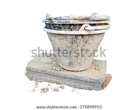 Small cement tank mortar on bricks and blocks. isolated on white background - stock photo