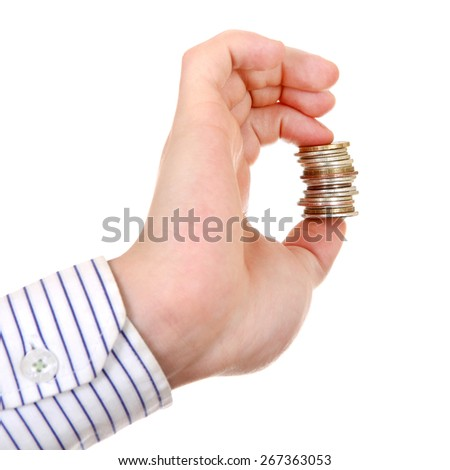 Small Change in Hand Isolated on the white background - stock photo