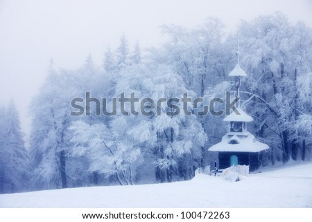 Small chapel in the middle of nowhere - stock photo