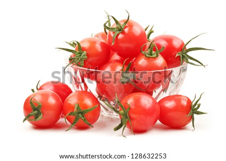 Small cherry tomato on white background - stock photo