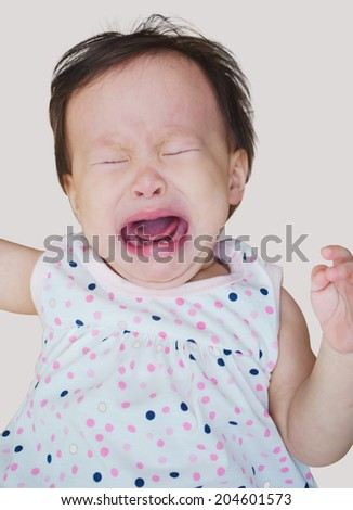 Small child baby girl toddler sad crying on a white background  - stock photo