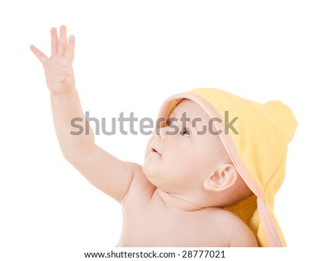 Small child in yellow hood on white background - stock photo