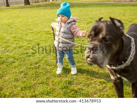 small child walking with a dog on a leash on the grass in the park
