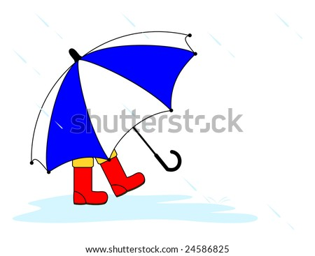 Small child wearing red wellington boots and hidden by a large blue and white striped umbrella splashes through a puddle on a rainy day.  Isolated on white with clipping path. - stock photo