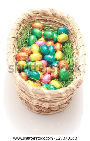 small Chocolate eggs a Traditional Easter sweet. - stock photo