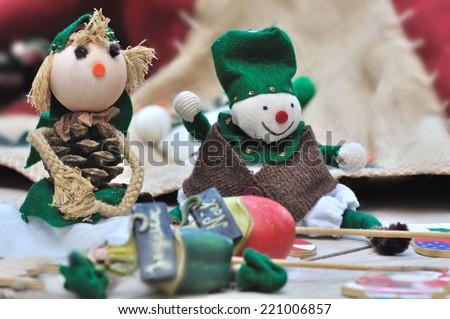 small cloth dolls handmade for Christmas - stock photo