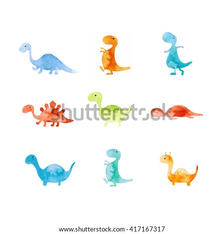 Small Colorful Dinosaur Set.Illustration Collection - stock photo