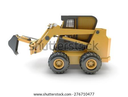 Small construction utility vehicle isolated on white - stock photo