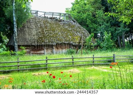 Small cottage in Pirogovo museum near Kiev,Ukraine - stock photo