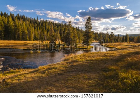 Small Creek near the Lone Star Geyser - stock photo