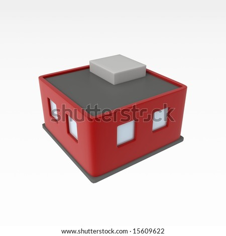 Small 3d Building, over white, isolated - stock photo