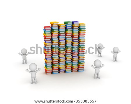 Small 3D characters are cheering around some tall stacks of colorful books. Isolated on white background.  - stock photo
