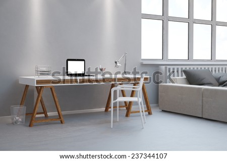 Small desk as home office with laptop computer in a living room (3D Rendering) - stock photo