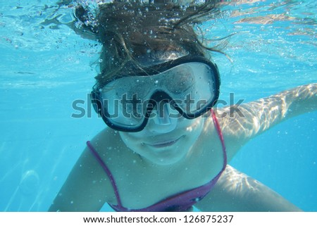 small diver girl - stock photo
