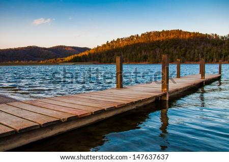 Small dock on Lake Arrowhead, near Luray, Virginia. - stock photo