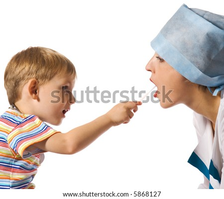 Small doctor and big patient - stock photo