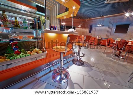 Small empty cafe-bar - stock photo