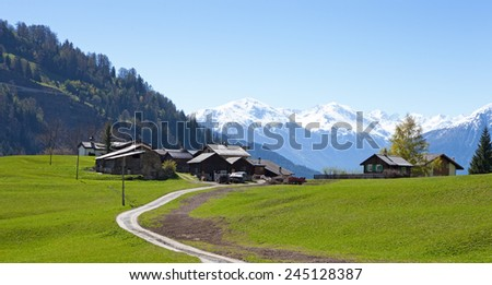 Small farm in Swiss alps (near Leukerbad). Bodmen, Valais, Switzerland - stock photo