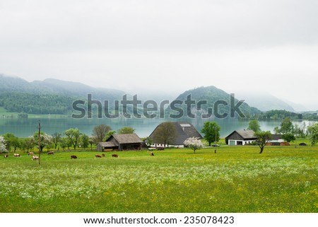 Small farm near Wolfgangsee in Alps mountains, Austria  - stock photo