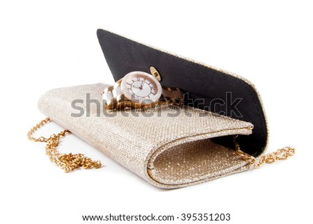 small fashion female bag and watch on white - stock photo