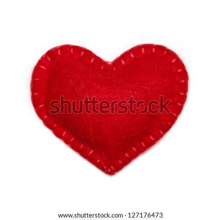 Small felt red heart isolated on a white background - stock photo