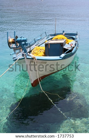small fishing boat moored at Porto Vromi, Zante (Zakynthos - stock photo