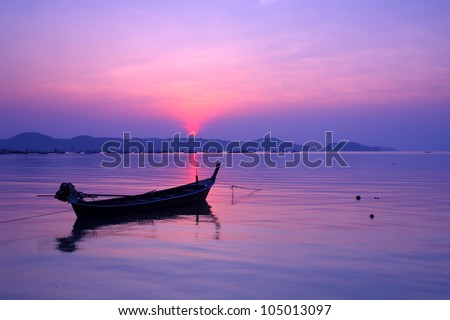 Small fishing boats marina at the morning light in the south, Thailand - stock photo