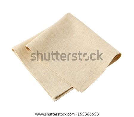 Small folded linen napkin - stock photo