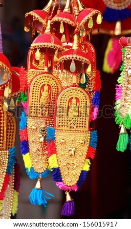 Small form  of caparison for sale at Aranmula Pardhasaradhy Temple. - stock photo