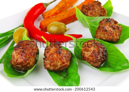 small french beef cutlets on basil with potatoes - stock photo