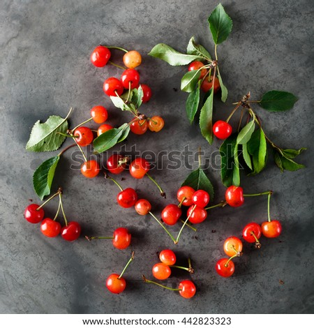 Small fresh wild cherries just picked from trees, on grey grunge background, top view - stock photo