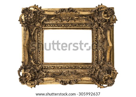 Small Georgian carved double sweep gilt picture frame - stock photo