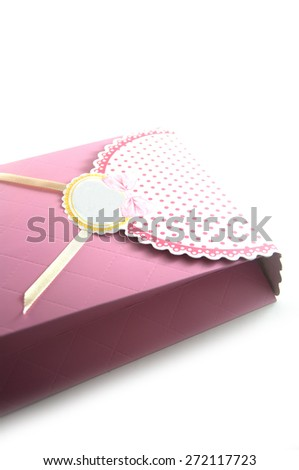 small gift box with decoration - stock photo