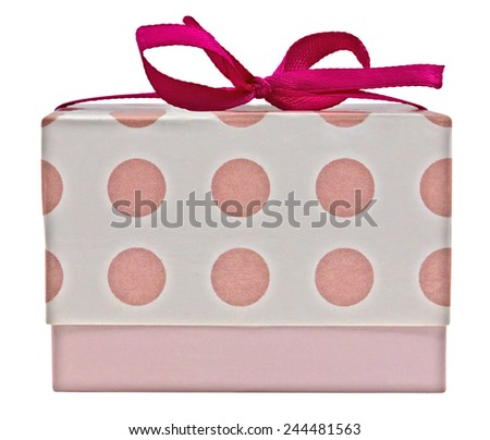 Small gift box with pink ribbon bow, isolated on white. Clipping path included. - stock photo