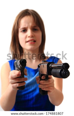 small girl and hand  guns - stock photo