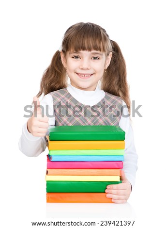 small girl with pile books showing thumbs up. isolated on white background - stock photo