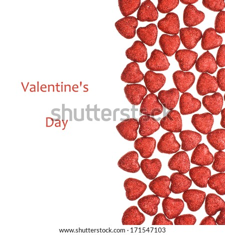 small glittering figure in the shape of heart scattered isolated on white background - stock photo