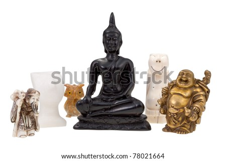 small gods - statuettes of gods and idol - stock photo