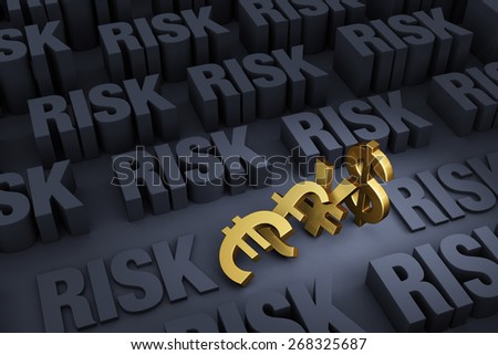 "Small gold Euro, Pound, Yen and Dollar symbols falling onto each other like dominoes stand out in a dark background of gray ""RISK"" rising up around them.
