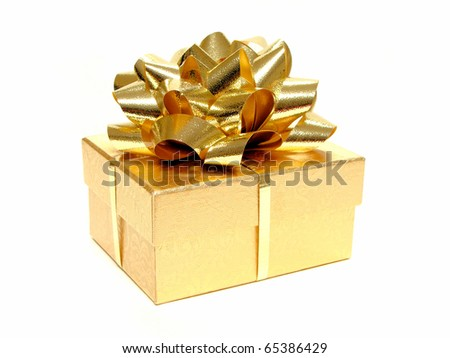 Small gold gift box with bow and ribbon on a white background - stock photo