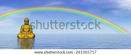 Small golden buddha meditating under rainbow and upon water by day - 3D render - stock photo