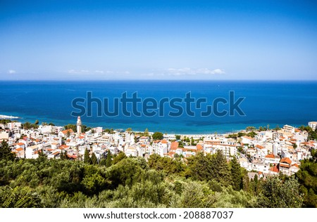 Small greek town on the sea - stock photo