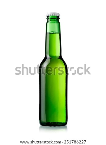 Small green beer bottle - stock photo