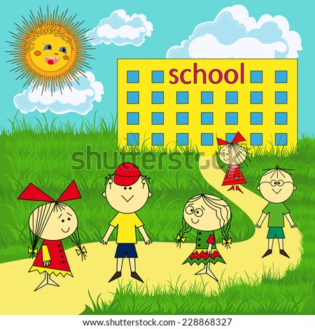 Small group of children near the school on a sunny day, hand drawing illustration  - stock photo