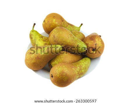 Small group of conference pears on white background - stock photo