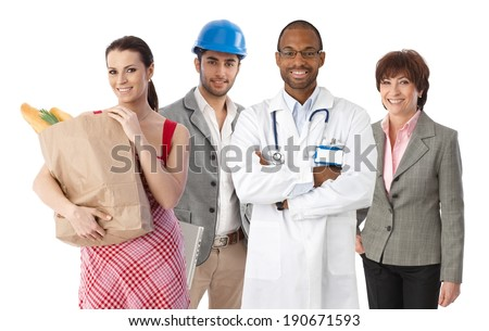 Small group of happy people with diverse ethnics and occupations, white background. - stock photo
